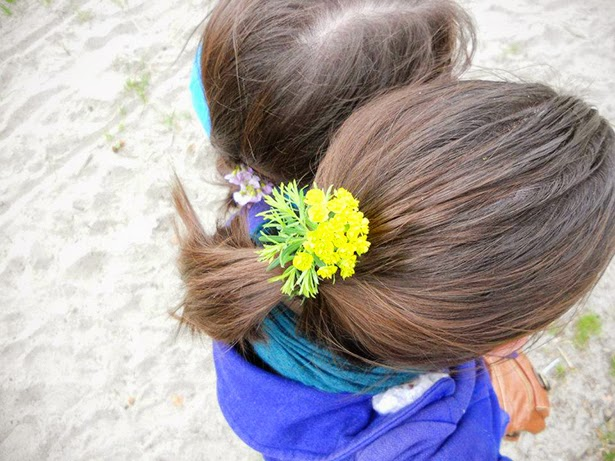 Flowers in our hair in Lausanne, Switzerland