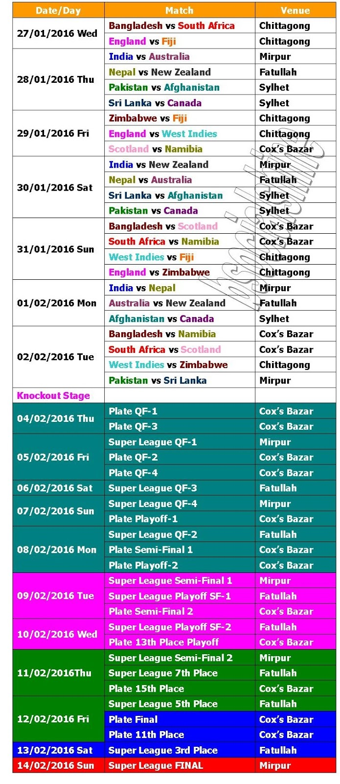 U19 WORLD CUP 2016 FIXTURES EBOOK DOWNLOAD