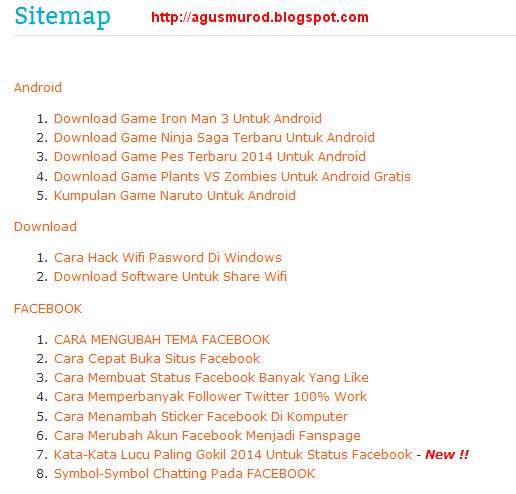 Membuat Sitemap Blog Sesuai Dengan Label