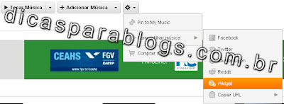 widgets para colocar musicas no blog