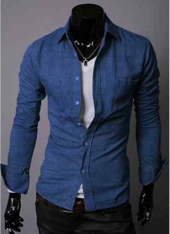 Jual Kemeja Pria Keren Harga Murah di Banten Bahan Semi Jeans Warna Blue