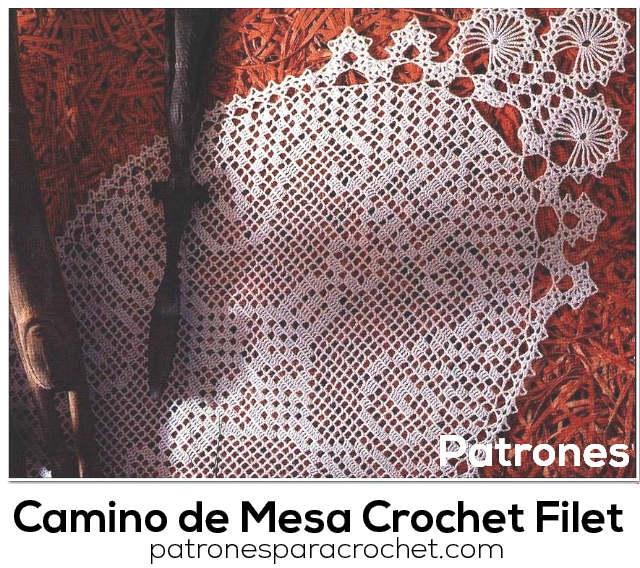 patrones de camino de mesa crochet filet