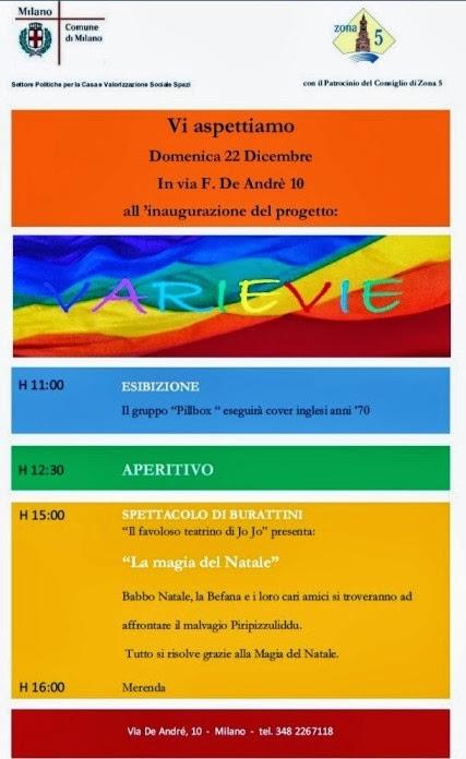 inaugurazione spazi sociali a Milano: progetto Varievie in via De Andrè 12