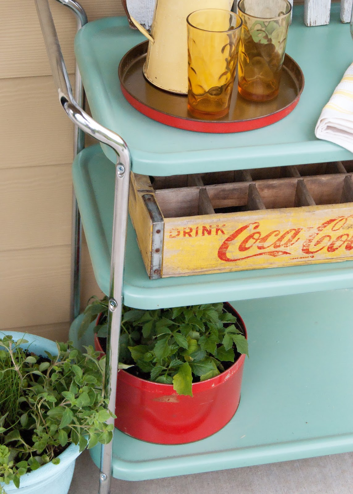 Vintage cart transformed into outdoor serving cart - styled with vintage glasses and tea towels