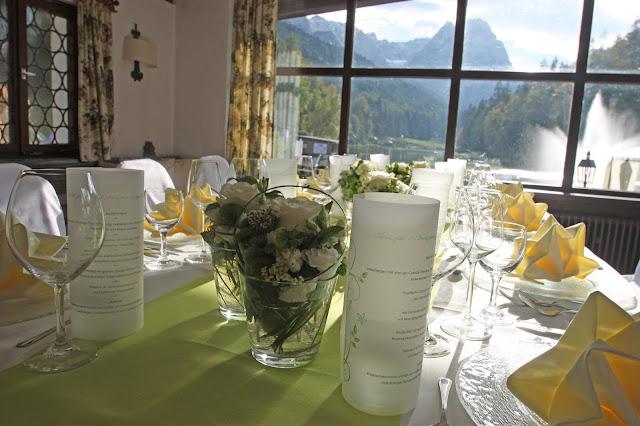 Festtafel zum 1. Hochzeitstag im Jagdstüberl, Seehaus am Riessersee, Garmisch