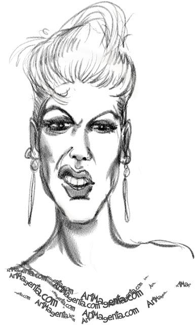 Pink caricature cartoon. Portrait drawing by caricaturist Artmagenta.