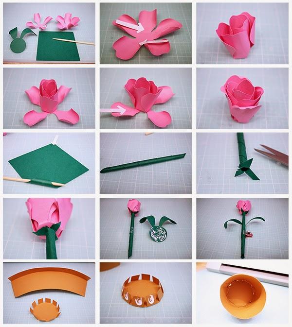 Bits Of Paper Rose Bud Flower Pot