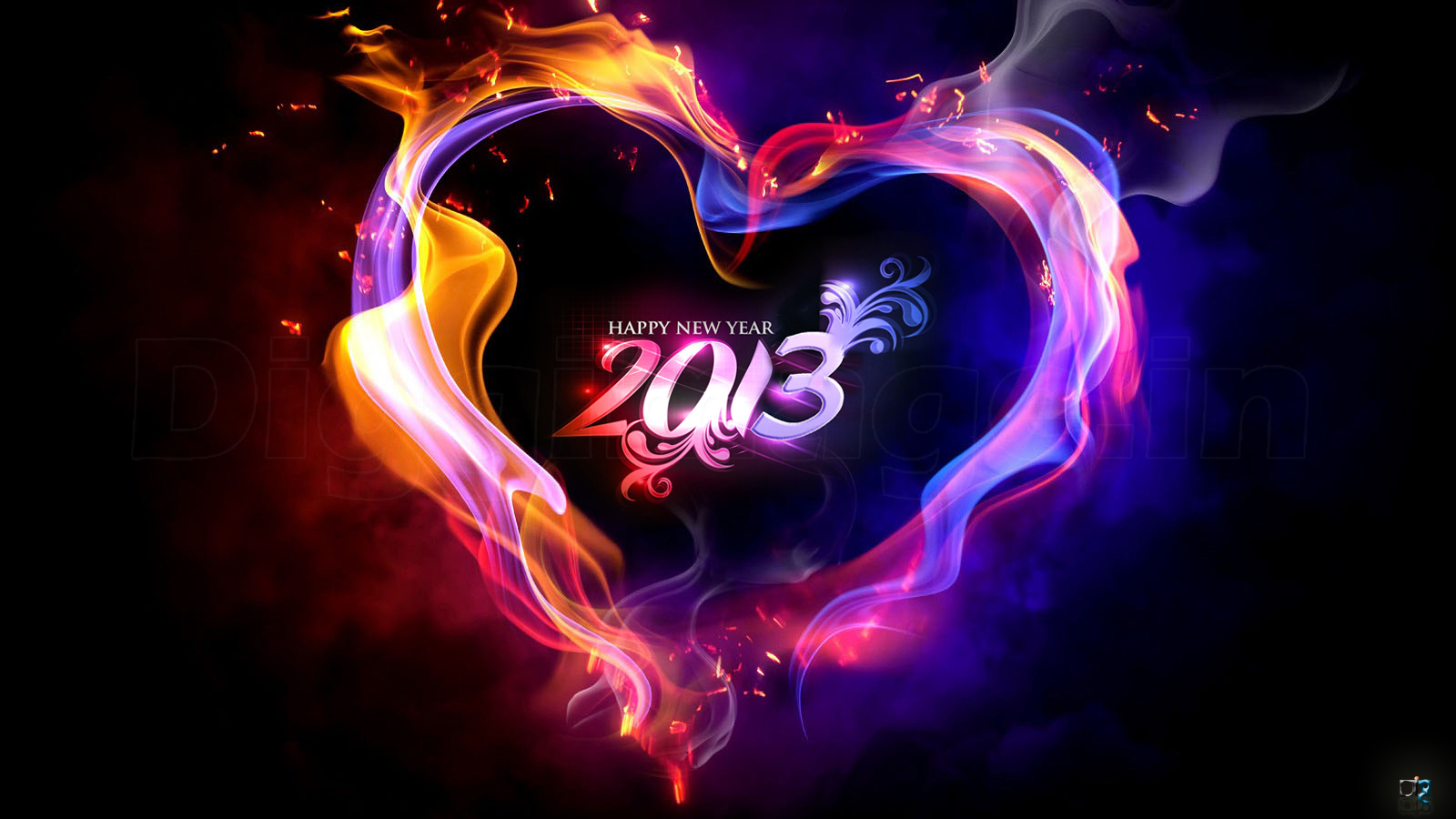 multicolored love fire 2013 happy new year scraps images