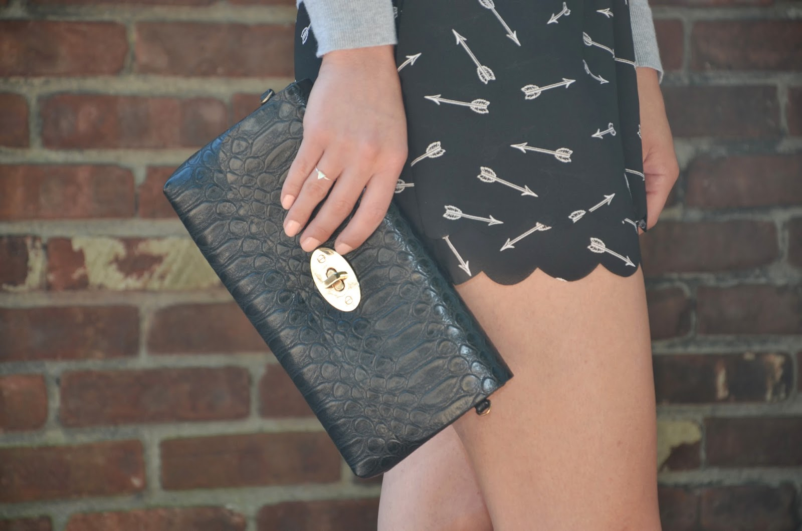 "mellow world ""lola"" clutch + anthropologie arrow shorts"