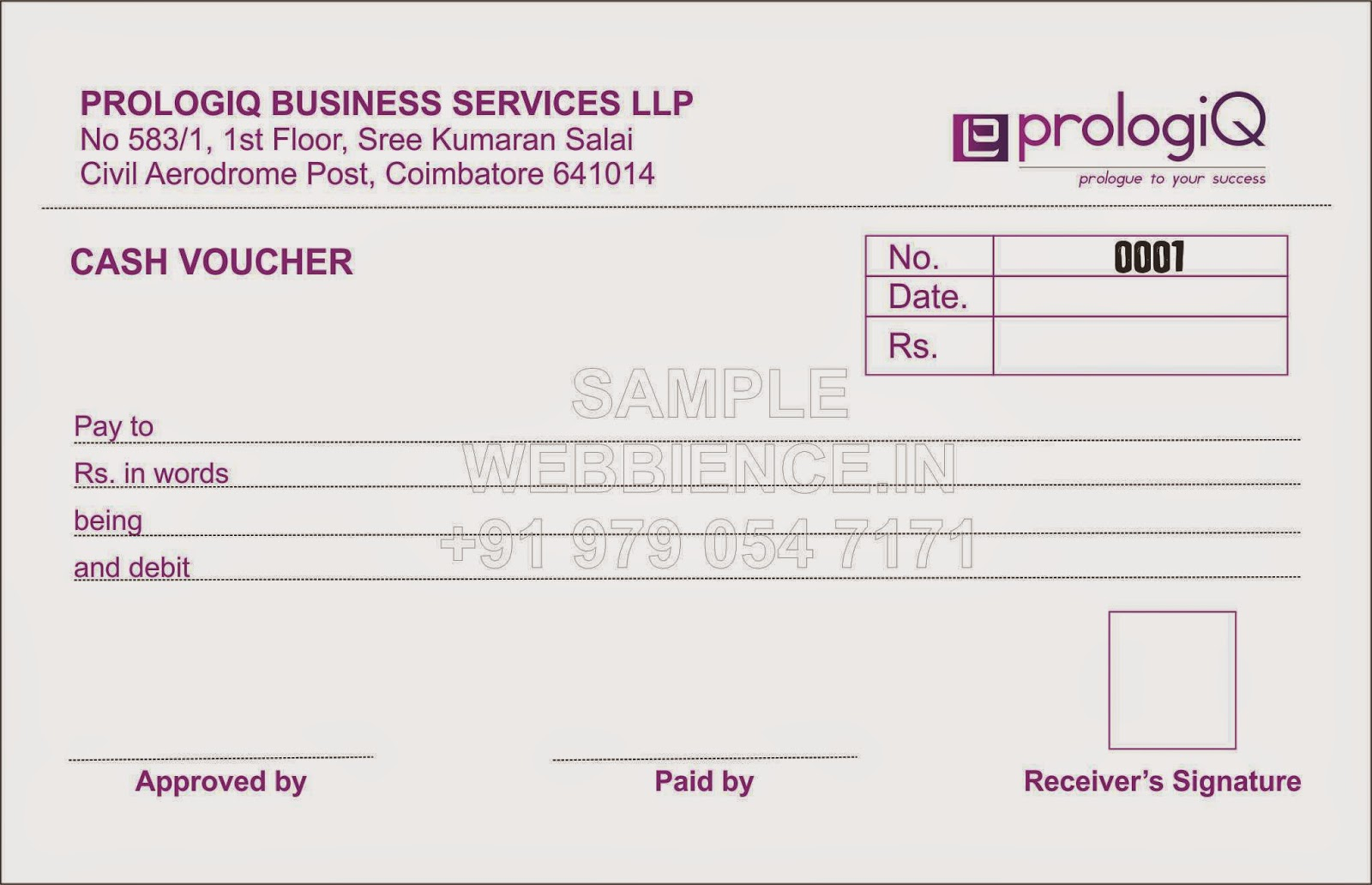 Sample Cash Voucher Template  Cash Voucher Template