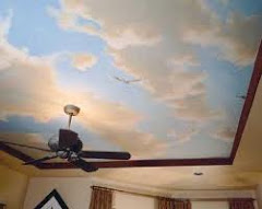 Painted clouds on ceiling