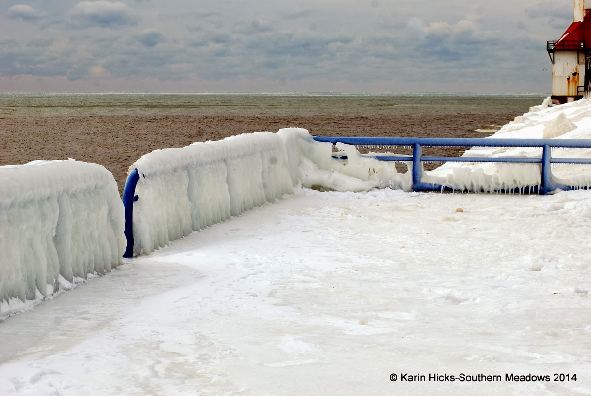 ice covered railing along Lake Michigan