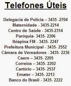 TELEFONES ÚTEIS NA CIDADE DE FORÃNIA/RN