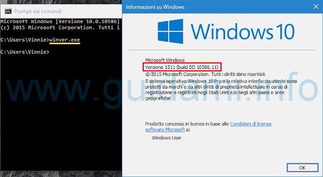Vedere versione Windows 10 da Informazioni su Windows