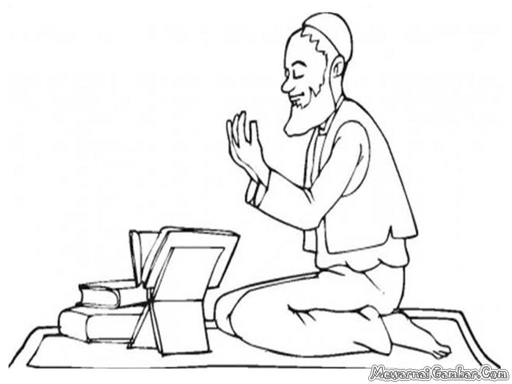 Mewarnai Gambar Orang Mengaji Al Qur'an | Mewarnai Gambar
