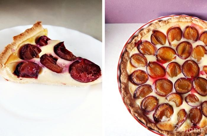 plum pie with custard