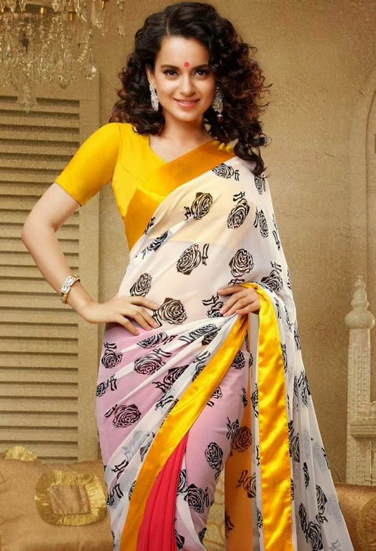 Kangana Ranaut sexy Saree Wallpaper, Kangana Ranaut sexy images, Kangana Ranaut sexy looks, Kangana Ranaut curly hair sexy Saree photos download