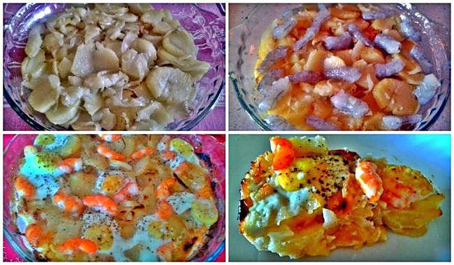 Preparación del pastel de patatas mimosas
