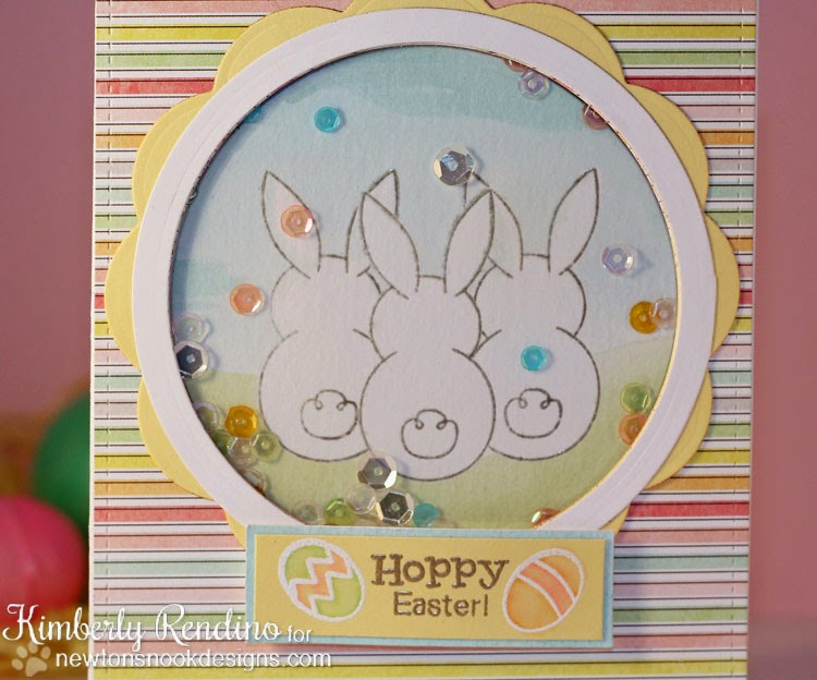 Bunny Hop card by Kimberly Rendino for Newton's Nook Designs | Kimpletekreativity.blogspot.com | Easter | shaker card