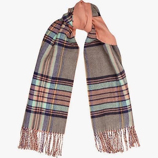 peach check scarf