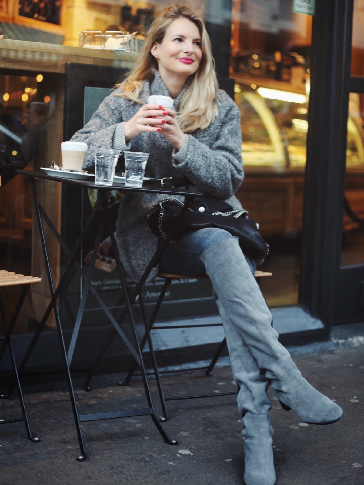 grey overknee boots, zara overknee boots, grey boots zara, grey coat, grey outfit, stella mccartney falabella bag, street style london, coffee break, fashion blogger london