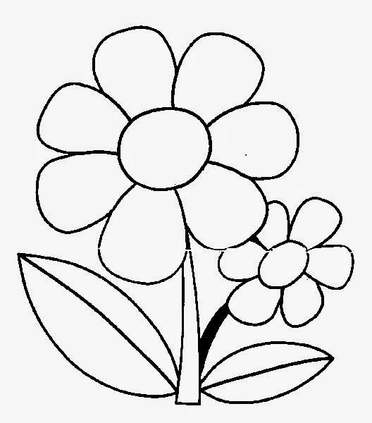 Desenho simples de flor colori. Risco de flor. Desenho infantil para colorir