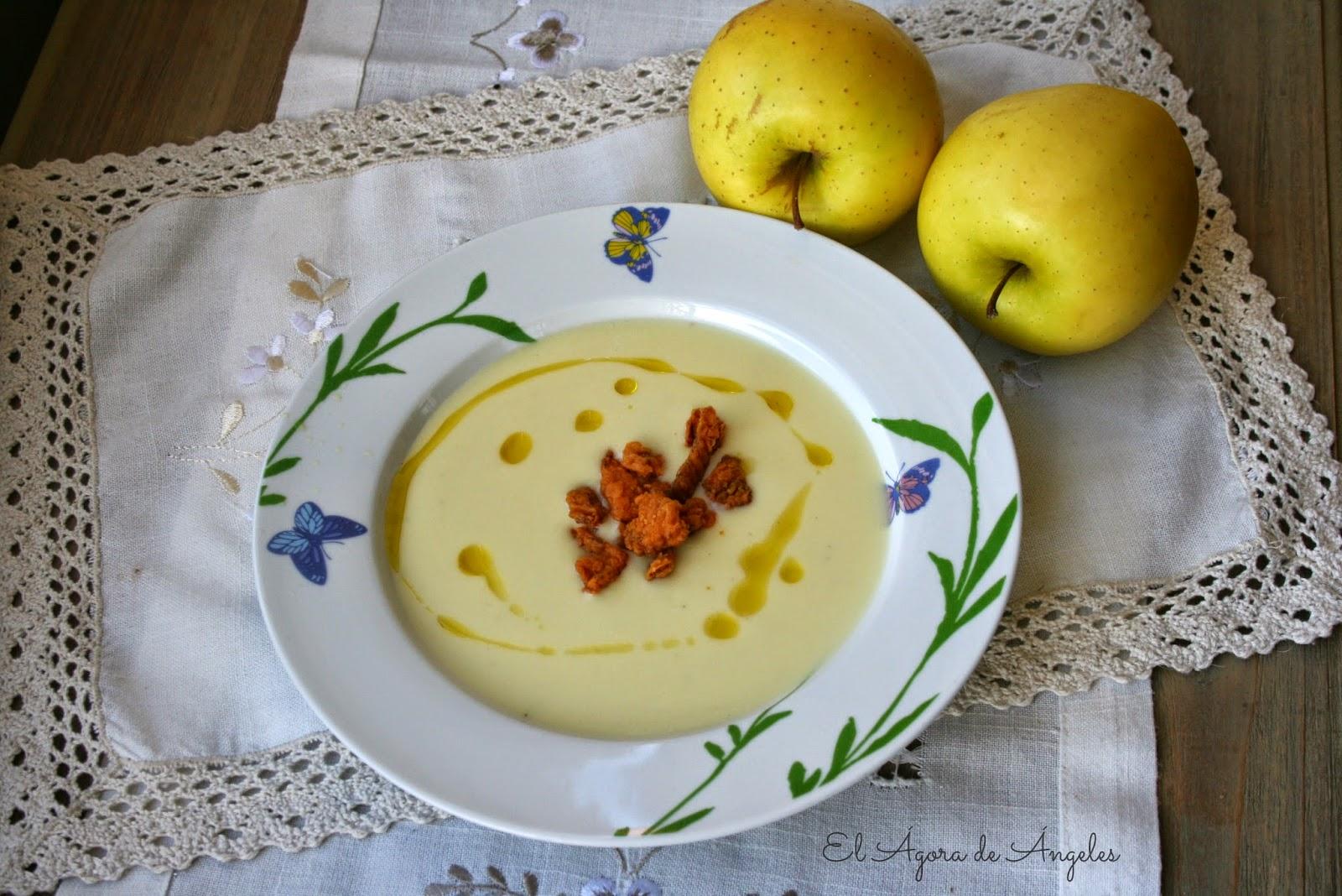 crema de calabacín y manzana,queso de cabra