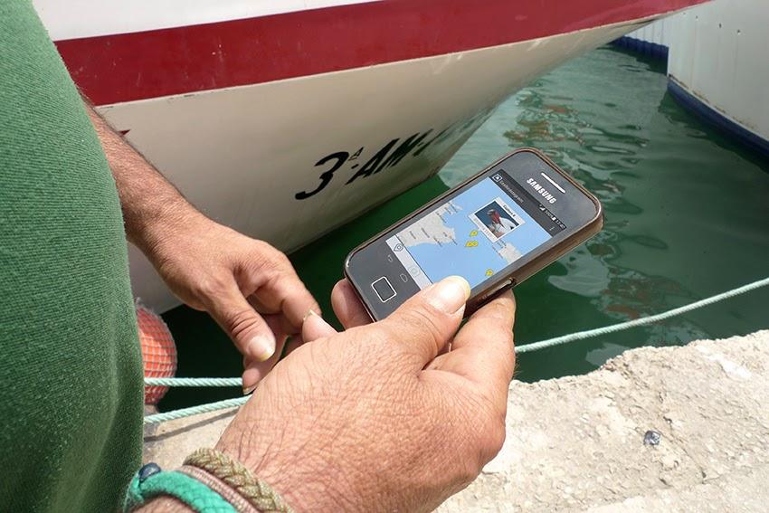 Mano que sostiene un teléfono móvil en el puerto