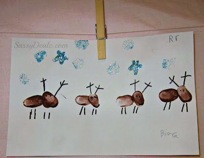fingerprint reindeer art project for kids