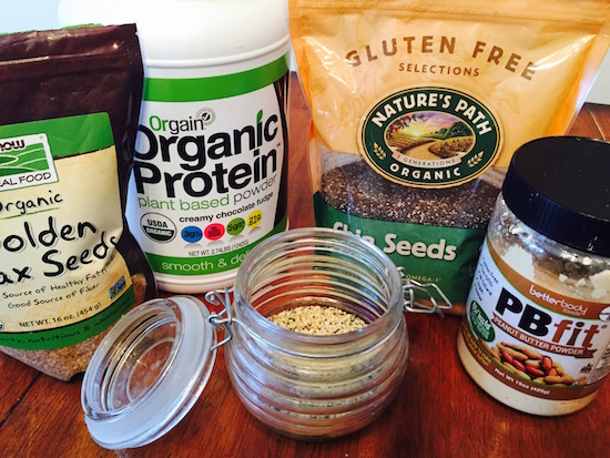 variety of protein powders and seeds
