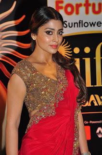 Actress Shriya Saran Latest Pictures in Red Saree at IIFA Utsavam Awards 2016  25284)