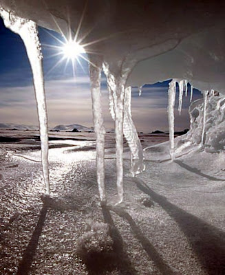 Sun melting ice