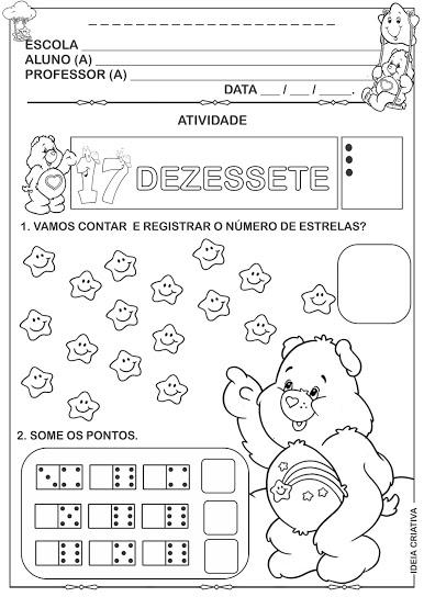 Atividades numerais de 10 a 20 Ursinhos Carinhosos