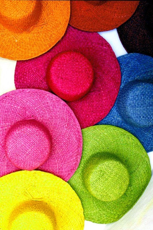 colour straw hats
