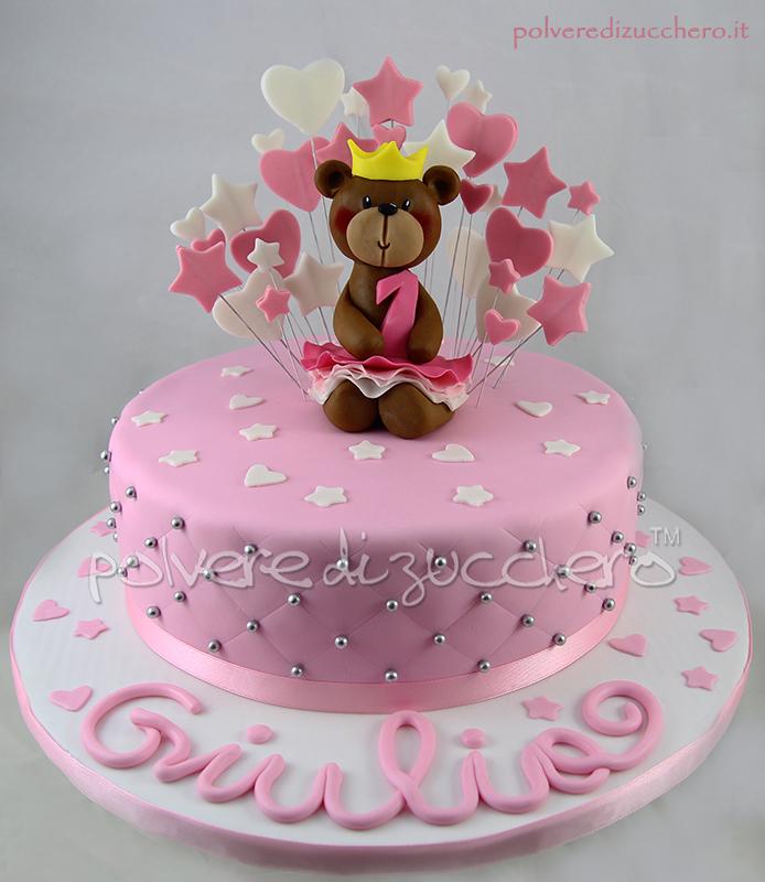 torta in pasta di zucchero per un primo compleanno di una bimba: una dolce orsetta ballerina