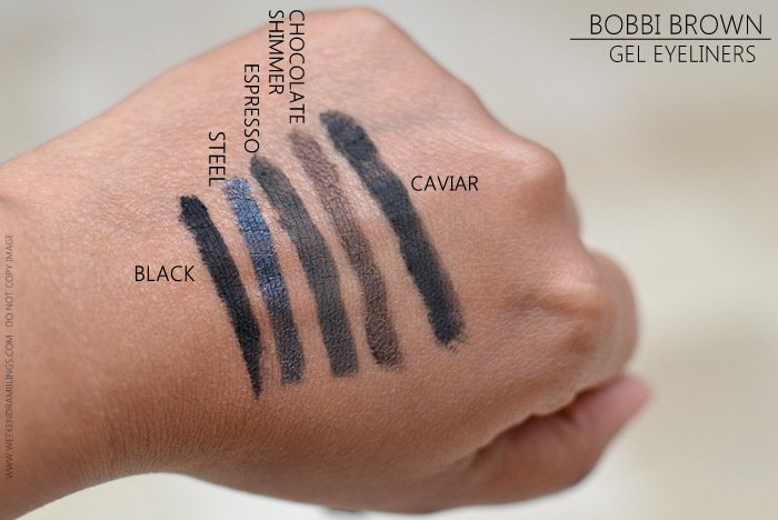 Bobbi Brown Long Wear Gel Eyeliners Swatches Black Steel Espresso Chocolate Shimmer Caviar Ink