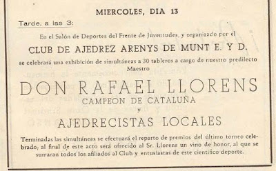 Cartel anunciando unas simultáneas de Rafael Lloréns en Arenys de Munt en noviembre de 1944
