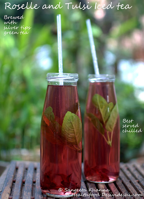 roselle and tulsi iced tea