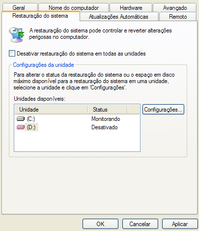 Configuração de restauração do sistema no Windows XP