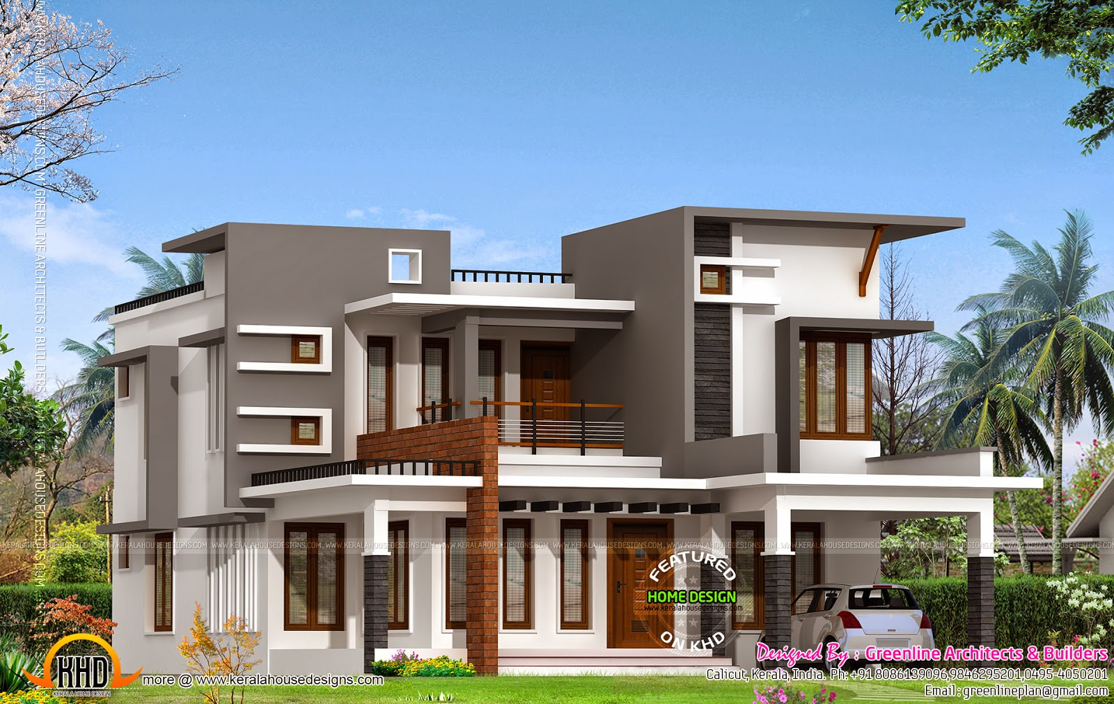 Contemporary house with estimate cost 28 lakhs kerala for Modern house cost