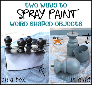shows us two ways to spray paint weird shaped objects here. Black Bedroom Furniture Sets. Home Design Ideas