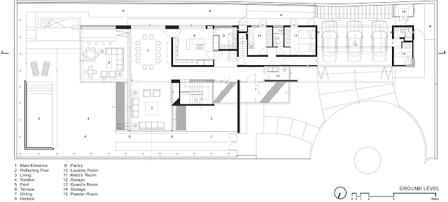Ground floor plan of FF House in Mexico