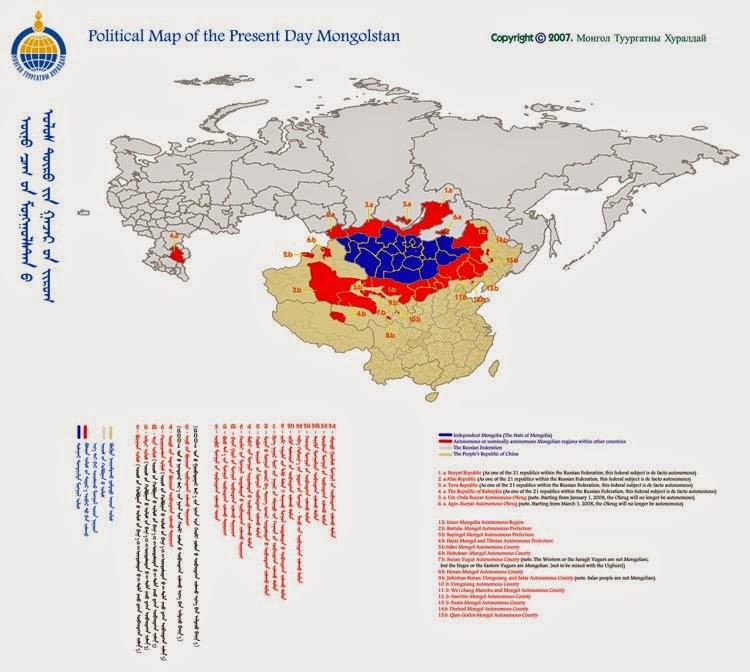 世界のモンゴル人居住地
