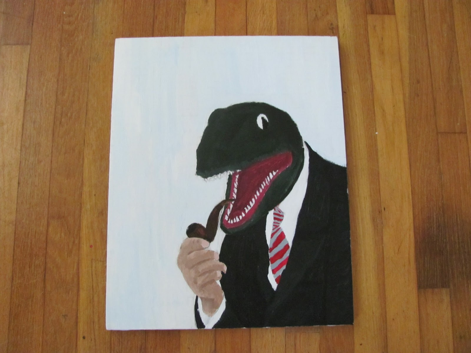 Painting of a dinosaur in a business suit smoking a pipe