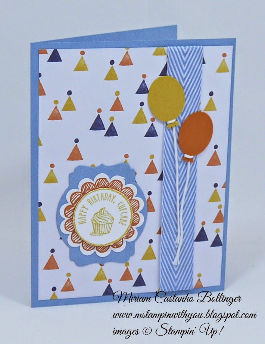 Miriam Castanho Bollinger, #mstampinwithyou, stampin up, demonstrator, ppa 237, birthday bash dsp, sketched birthday, big shot, deco labels collections, birthday card, su