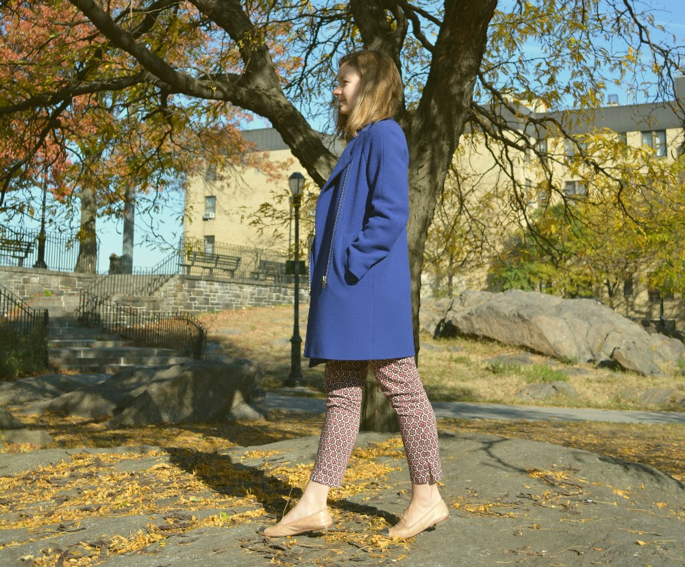 royal blue coat, cobalt coat, j.crew cocoon coat, J.Hood park, colorful winter coat, NYC fall