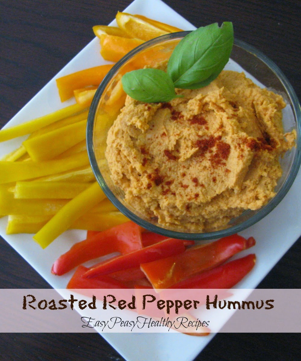 Easy peasy healthy recipes roasted red pepper hummus for Roasted red peppers hummus