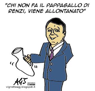 Marino, Renzi, pappagallo, satira vignetta