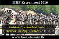 ITBP RECRUITMENT 2016 FOR ASSISTANT COMMANDANT POSTS