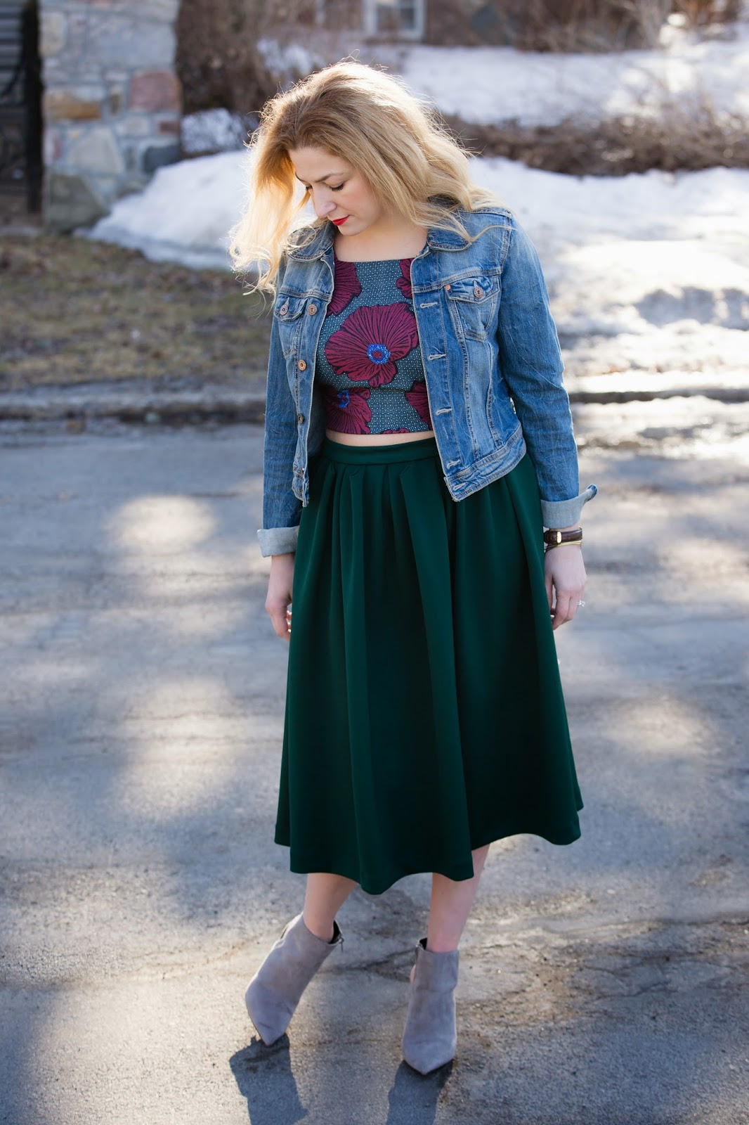 pleated waist midi skirt